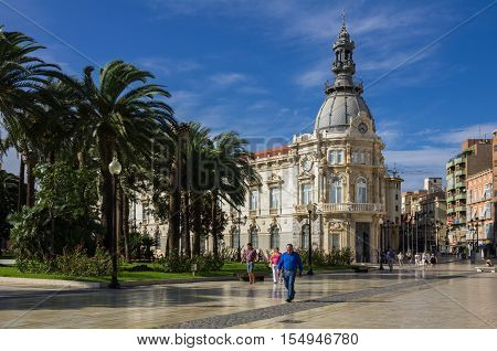 CARTAGENA SPAIN - OCTOBER 13 2014: City Hall of Cartagena spanish city and a major naval station located in the Region of Murcia by the Mediterranean coast south-eastern Spain