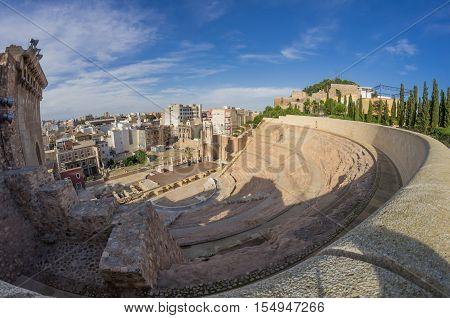 Ruins of roman amphitheater in Cartagena Spain