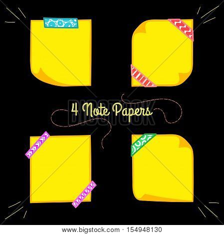 Four yellow note papers with washi tape in cartoon style, memo with curled corners, colorful decorative paper tape, isolated note paper on black background, EPS 8