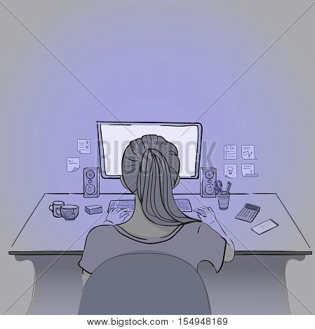 Woman sits and works on computer in sketch style, hand-drawn work place with computer, keybord, sticky notes, cup, notebook and calculator, vector concept freelance, back view, EPS 10