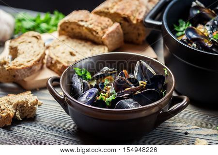 Closeup Of Fresh Vegetables And Mussels Prepared In The Home