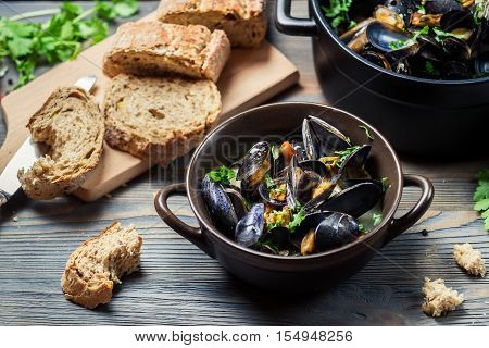 Closeup Of Fresh Mussels Prepared At Home