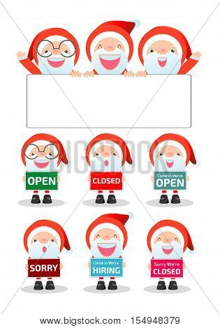 Merry Christmas. Santa Claus holding signs, open, closed, sorry, hiring, Santa showing placard board isolated on white background, happy new year. vector illustration cartoon flat