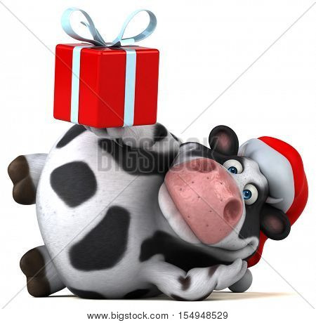 Fun santa cow - 3D Illustration