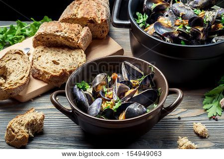 Fresh Vegetables And Mussels Prepared In The Home