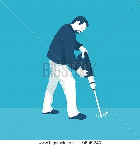 man with a jackhammer in vector format eps10