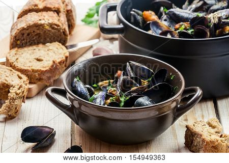 Closeup Of Mussels Served In A Sunny Day