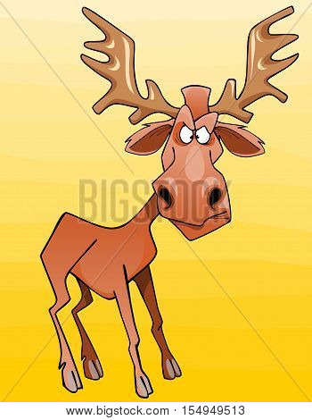 cartoon moose character looks angrily on a yellow background
