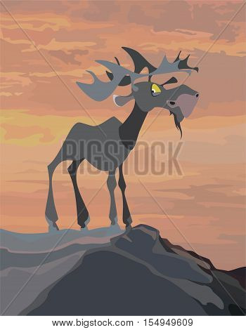 cartoon moose stood on the mount  the orange sky