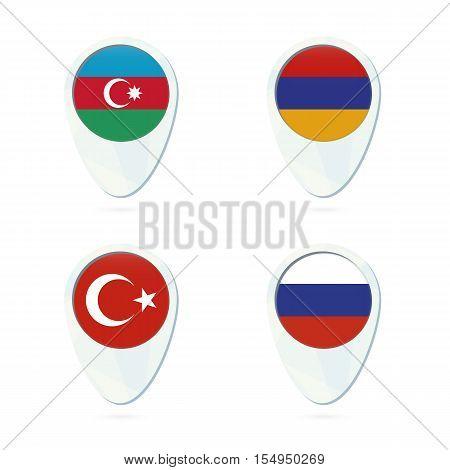 Azerbaijan Armenia Russia Turkey flag location map pin icon. Azerbaijan Flag Armenia Flag Russia Flag Turkey Flag. Vector Illustration.