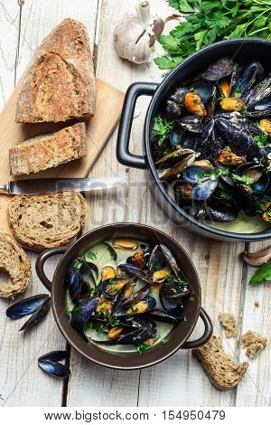 Mussels Served With Bread By The Sea