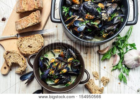 Mussels Meal Served With Bread By The Sea