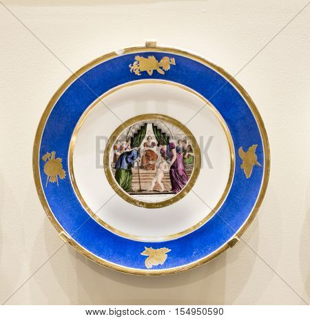 Moscow Russia -September 082016: Series of plates with caricatures; allegorical and literary scenes era. Factory Sholshe.Museum of the Patriotic War of 1812