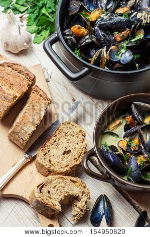 Mussels Served With Bread As A Lunch By The Sea