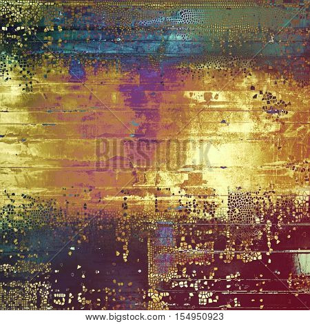 Old style decorative composition or designed vintage template with textured grunge elements and different color patterns: yellow (beige); brown; green; blue; red (orange); purple (violet)