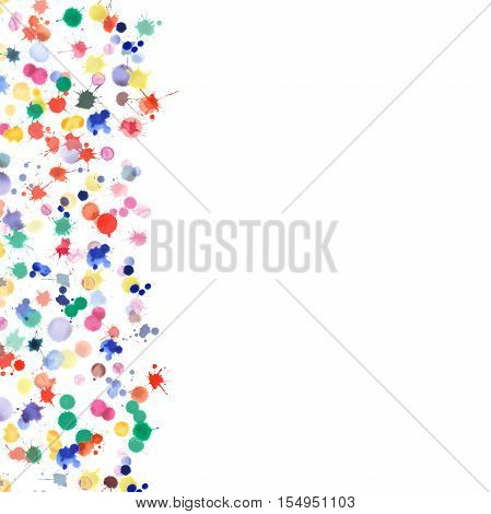 Watercolor Confetti Design. Abstract Background With Colorful Scattered Bright Expressive Stains. Br
