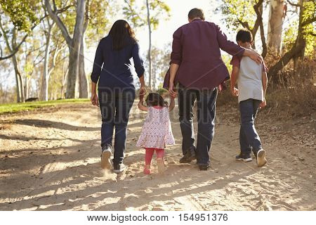Mixed race family walking on rural path, close up back view