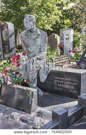 Moscow Russia -September 102016: Novodevichy Cemetery. Grave actor Yevgeny Matveyev