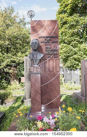 Moscow Russia -September 102016: Novodevichye Cemetery. Tomb announcer Yuri Levitan