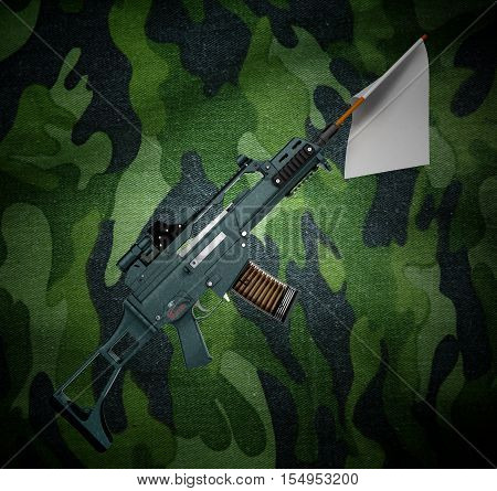 Concept Defeat White Flag From The Barrel Of The Machine 3D Illustration On Camouflage Background