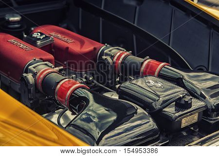 Wroclaw, Poland  - July 9 : Engine Of Ferrari On Display At Raceism Event 2016 On July 9 ,wroclaw, P