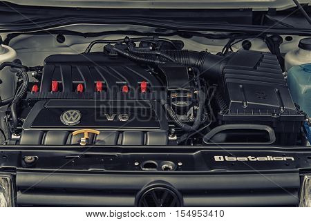 Wroclaw, Poland  - July 9 : Volkswagen V6 Engine Display At Raceism Event 2016 On July 9 ,wroclaw, P