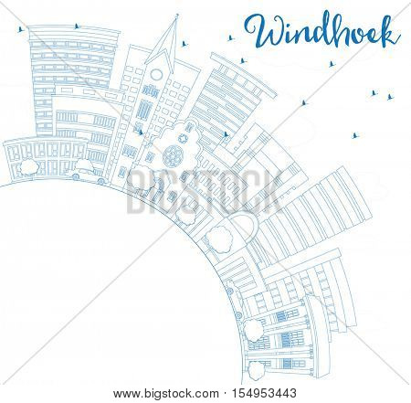 Outline Windhoek Skyline with Blue Buildings and Copy Space. Vector Illustration. Business Travel and Tourism Concept with Modern Architecture. Image for Presentation Banner Placard and Web Site.