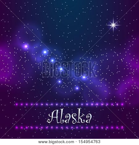 Constellation the Great Bear and Polaris. Symbol of Alaska. Eps10 vector Illustration.