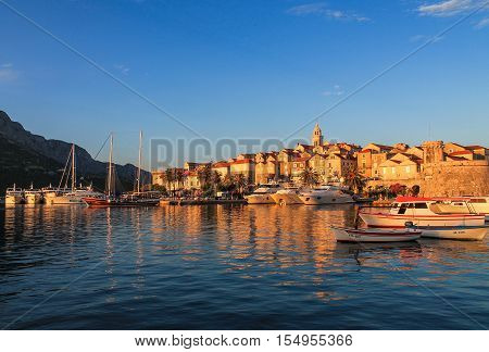 Old Town of Korcula at Sunset. Croatian coast in the summer