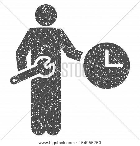 Clock Serviceman grainy textured icon for overlay watermark stamps. Flat symbol with dirty texture. Dotted vector gray ink rubber seal stamp with grunge design on a white background.