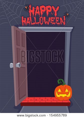 Vector Illustration of Open Door Background For Halloween