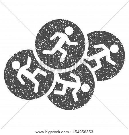 Running Men grainy textured icon for overlay watermark stamps. Flat symbol with scratched texture. Dotted vector gray ink rubber seal stamp with grunge design on a white background.