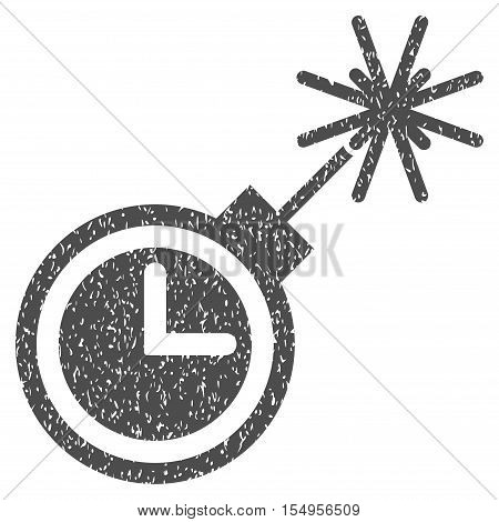 Time Bomb grainy textured icon for overlay watermark stamps. Flat symbol with dirty texture. Dotted vector gray ink rubber seal stamp with grunge design on a white background.
