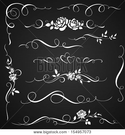 Decorative ornaments with roses. Set of floral calligraphic elements for wedding invitations.