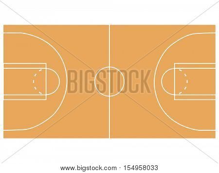 Basketball court illustration with lines