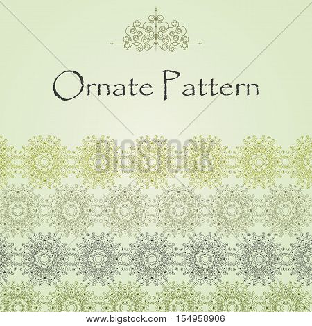 Vector pattern in Eastern style on scroll work background. Ornate element for design. Place for text. Ornamental pattern for wedding invitations, greeting cards. Traditional outline decor.