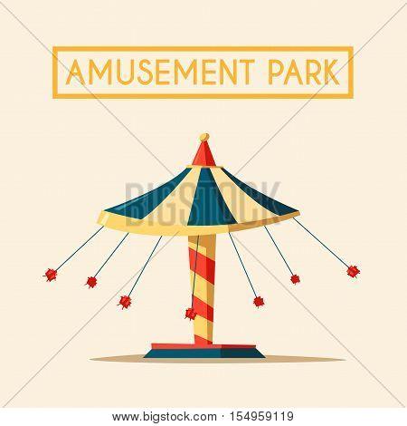 Amusement park theme. Cartoon vector illustration. Vintage style. Icon. Funfair. Good emotions Big swing