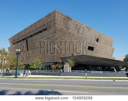 Washington DC, USA - October 16, 2016 - Main entry canopy view of the National Museum of African American History and Culture (NMAAHC) that opened on September 24, 2016.