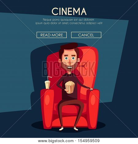 Cinema Time. Home movie watching. Cartoon vector illustration. Red sofa. Web, banner and logo design. Popcorn, cola and 3d glasses. Vintage style. Food and drink. Happy man.