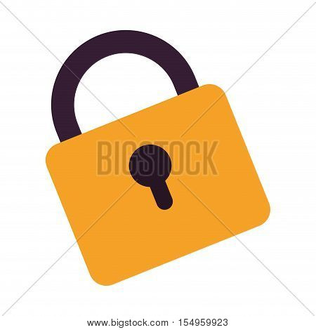 yellow padlock icon with keyhole over white background. vector illustration