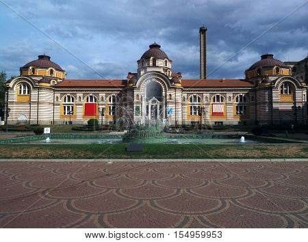 Sofia Bulgaria beautiful public mineral bathes building with fountain