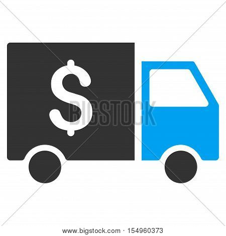 Tax Collector Car vector pictogram. Illustration style is a flat iconic bicolor blue and gray symbol on white background.