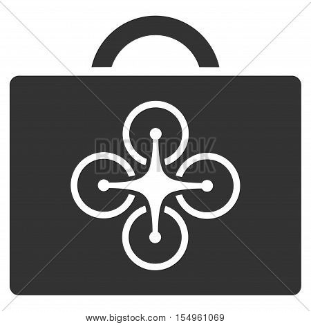 Drone Toolcase vector pictograph. Illustration style is a flat iconic gray symbol on white background. poster