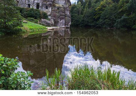 The Externsteine striking sandstone rock formation in the Teutoburg Forest Germany North Rhine Westphalia