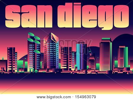 Vector illustration of the City of San Diego California