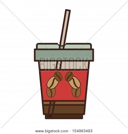 coffee cup with straw icon over white background. caffeine takeway drink. vector illustration