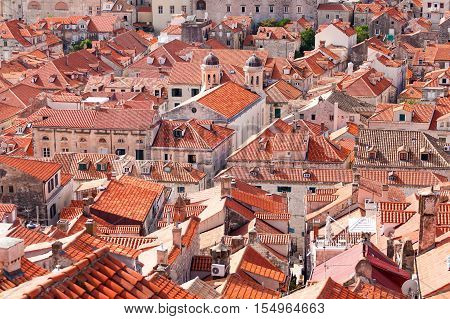 Dubrovnik old town roofs. Aerial view. Cityscape of Dubrovnik with bird's eye view. Travel to Croatia
