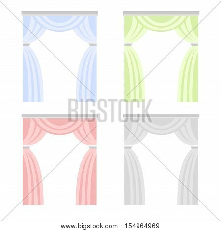 Color Curtain Set. Window Cover Blind on White Background. Vector illustration