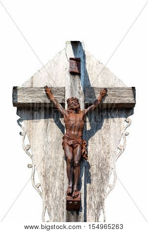 Crucifixion of Jesus Christ on white background