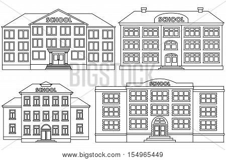 Set line icon of different types of school buildings. Isolated schoolhouses on white background. Vector flat illustration.